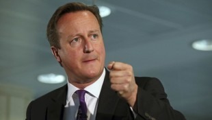 Britain's Prime Minister David Cameron speaks during a visit to the Scottish Widows building in Edinburgh, Scotland