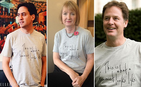 Feminist t-shirts worn by Ed Miliband and Nick Clegg allegedly made by women in poverty