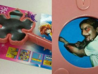 Toy wand has hidden picture of demonic child cutting herself with a knife
