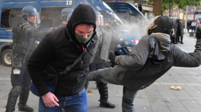 Violent clashes in France after protester killed 'by police stun grenade'