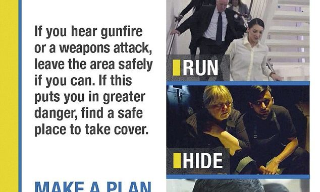 Police leaflets advise people to 'run, hide and tell' in event of terrorist attack