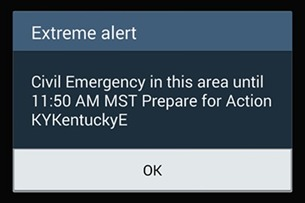 """Cellphone Users In Kentucky Receive Government """"Emergency Alert"""""""