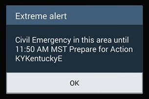 "Cellphone Users In Kentucky Receive Government ""Emergency Alert"""