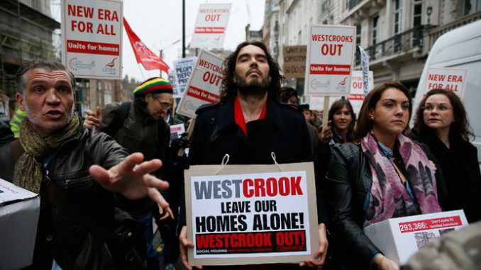 Russell Brand joins residents' protest against eviction