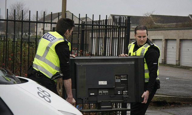 TEN vehicles and Police in riot gear sent to deal with noisy TV