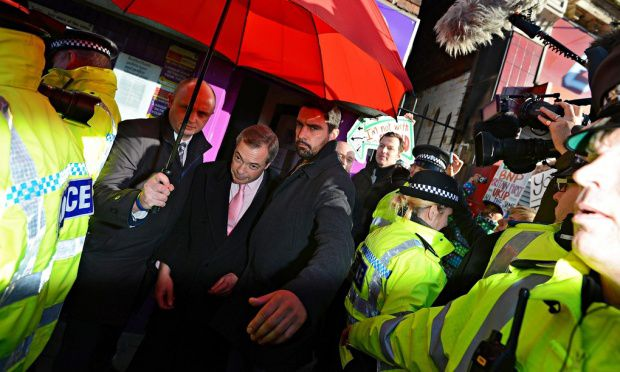 Protesters trap Farage in Ukip's Rotherham office