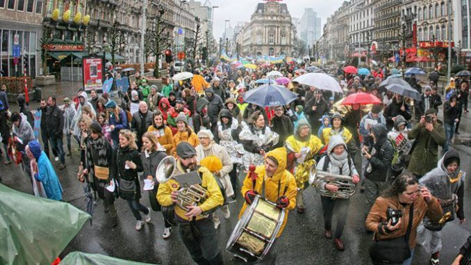 Tens Of Thousands Protest Against Austerity In Brussels