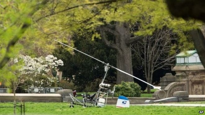gyrocopter on the west lawn
