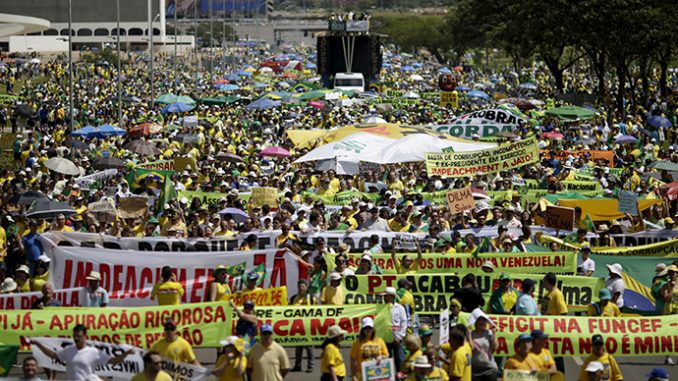 Hundreds Of Thousands Protest Against Corruption In Brazil