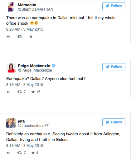 earthquake tweets dallas