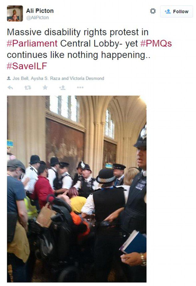 Police Clash With Disabled Protesters Inside Houses of Parliament
