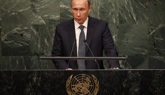 putin_Russian President Vladimir Putin delivers his speech to the 70th session of the UN