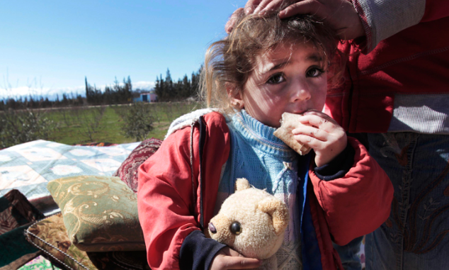 Syrian refugee crisis - Syrian refugees - small child - little Syrian girl with toy bear