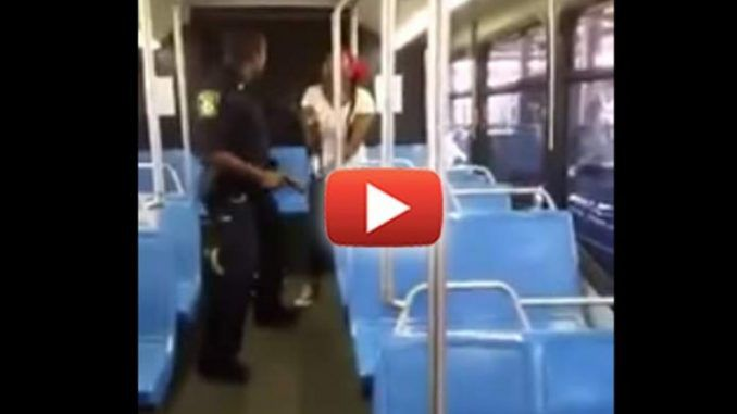 A unarmed woman on a public transit bus was beaten by a cop who then turned on nearby witnesses and threatened them with his gun