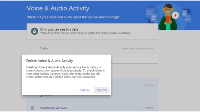How to find out if Google has an audio recording of you stored on its servers