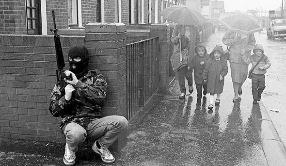 IRA man on patrol in West Belfast, 1987