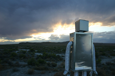 A robot guard of the nation of Zaqistan keeps watch