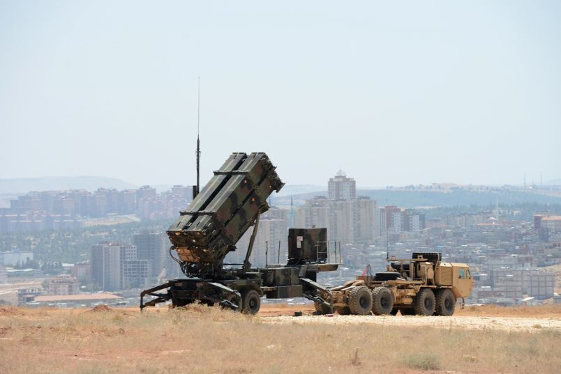 A Patriot missile launcher of the 3rd Battalion, 2nd Air Defense Artillery sits on a hill overlooking Gaziantep, Turkey, 2013.