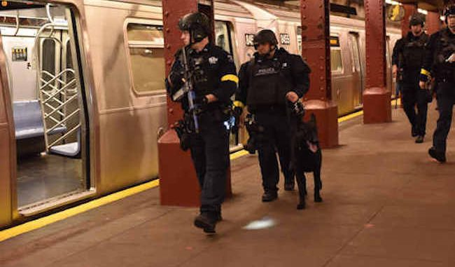 NYPD conduct an active shooter drill in a New York subway on Sunday