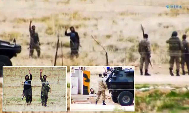 Turkish border guards are caught having a very friendly chat with ISIS militants
