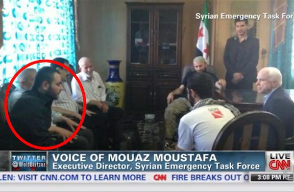 John McCain speaking with ISIS chief Abu Bakr Al-Baghdadi (aka Elliot Shimon) circled in red!