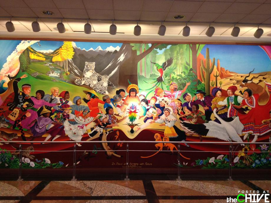 Denver International Airport mural of Garden of Eden