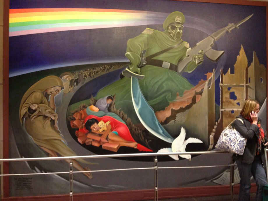 Denver International Airport picture depicting the Lord of Death, brandishing an AK-47, killing the dove of peace.