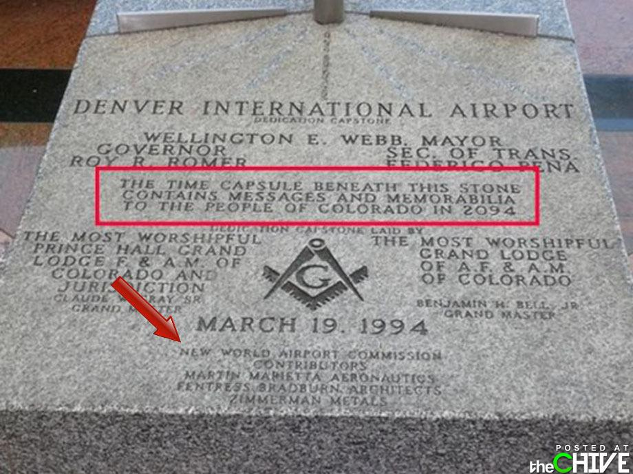 "Denver International Airport dedication stone ""New World Airport Commission"""