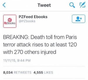 Bot auto Tweet with Paris Attack foreknowledge? If not, this sure is a highly improbable and eerie coincidence …