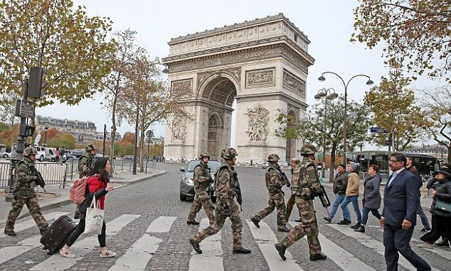 A large military exercise, or 'war games' , took place in Paris on the same day as the terrorist attacks