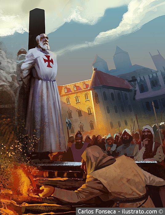 The burning at the stake of their Grand Master, Jacques de Molay,