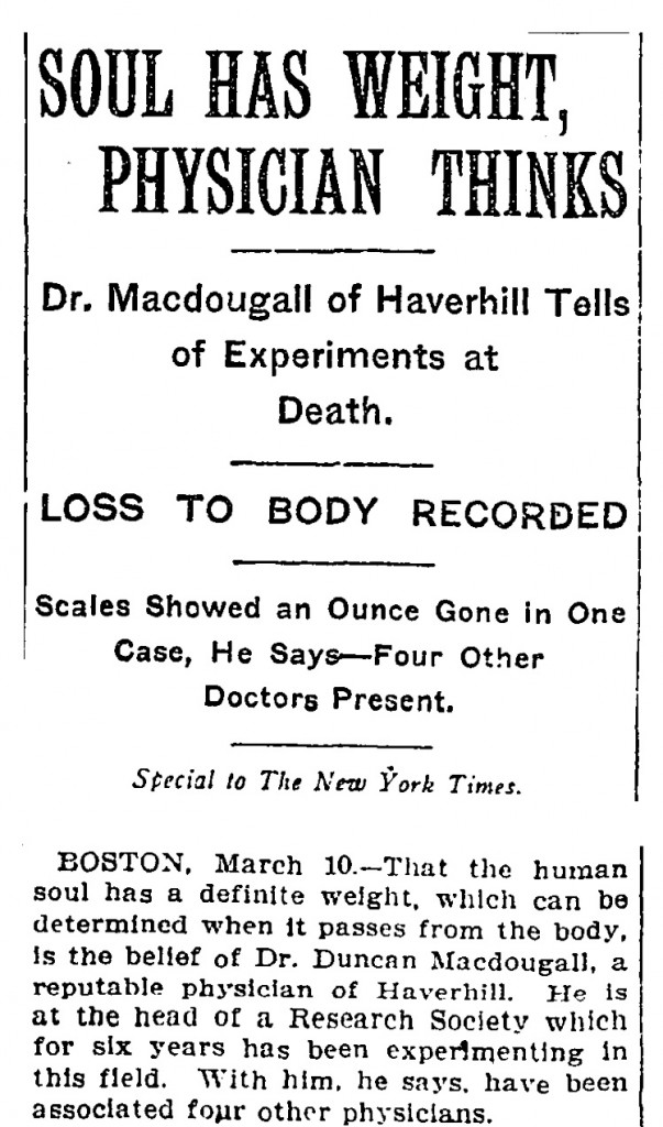 New York Times article on the man who weighed people's souls