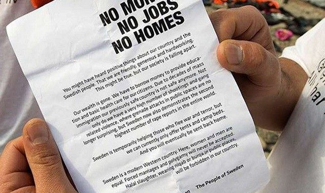 Swedish democrats flyer would-be migrants telling them there is no money, no jobs, and no homes for them in Sweden