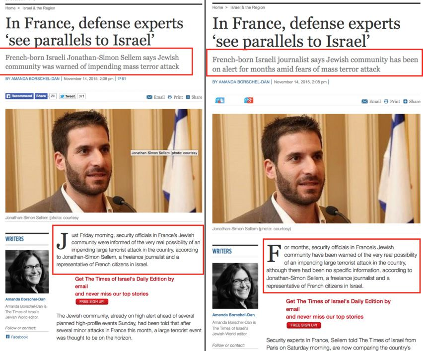 Times of Israel retract information that says French Jews were warned about Paris attacks