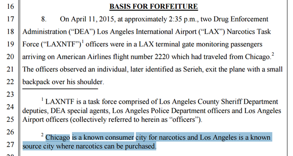 "LAXNTF - travelling within the US ""suspicious behaviour"""