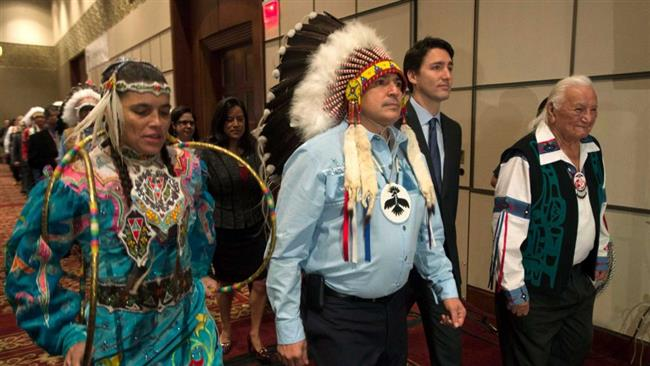 Trudeau and Aboriginal dancers