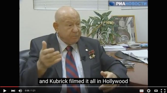 A Russian astronaut admits that Stanley Kubrick faked footage from the Apollo 11 mission by filming parts of it in Hollywood