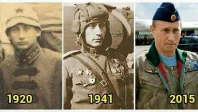 Does this photo prove that Russian President Vladimir Putin is a time traveller?