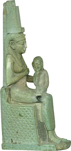 Fig.12 Ancient Egyptian statue of the throned Isis Lactanas