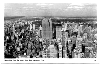 "Fig. 22 The dominiarung central Manhattan's landscape silhouettes of Rockefeller big (Osiris) and small (Horus) ""thrones"" in the middle of 20th century"