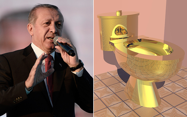 Erdogan taken to court over golden toilet bowls in the palace