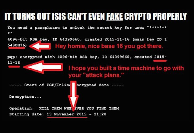 Edward Snowden says the ISIS encrypted message is fake