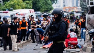 Indonesian police say they have regained control after several attackers launched a gun and bomb attack on the city.