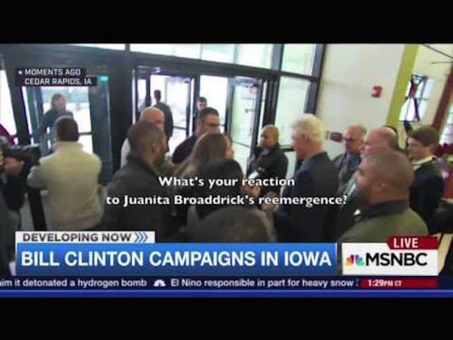 MSNBC censor footage of reporter confronting Bill Clinton over rape claims