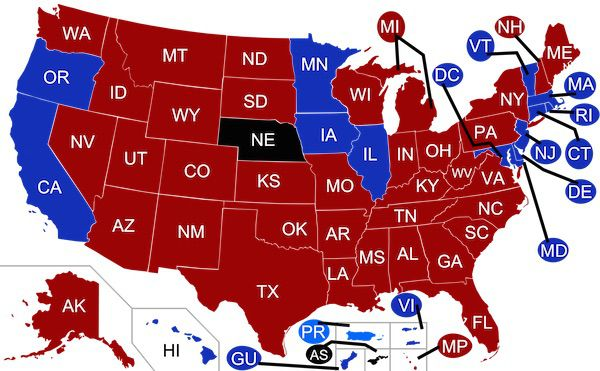 Blue vs Red voting states map