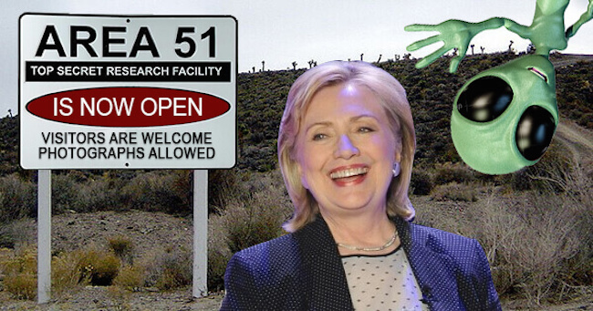 Hillary Clinton has promised full disclosure on aliens and Area 51 if she is elected president