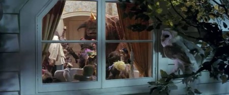 Sarah and her friends party in her room under the watchful eye of an owl, Jareth, who has never lost control of her. He is actually the winner of the duel with Sarah. Her programming is complete.