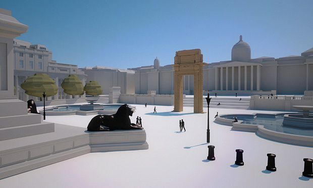 Model of how the arch will look in Trafalgar Square. Photograph: Institute for Digital Archaeology