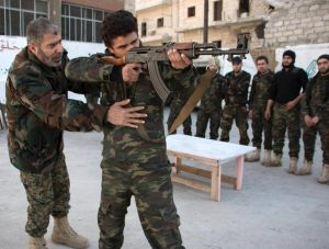 New recruits trained to fight alongside opposition in Aleppo, Syria.