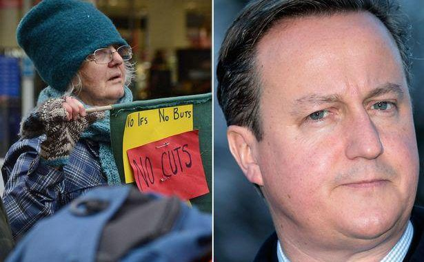 David Cameron's Auntie Joins Protest March Against Tory Cuts